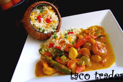 coconut Rice With Ginger Curry Shrimp