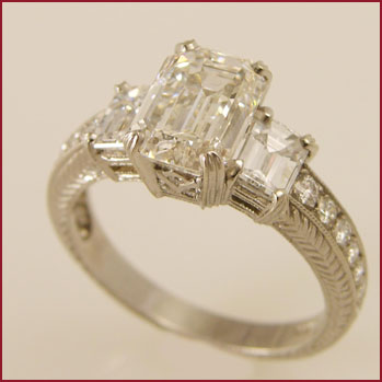 DIA 082 Emerald Cut Diamond Ring designed by Valerie Fairchild - $49,300