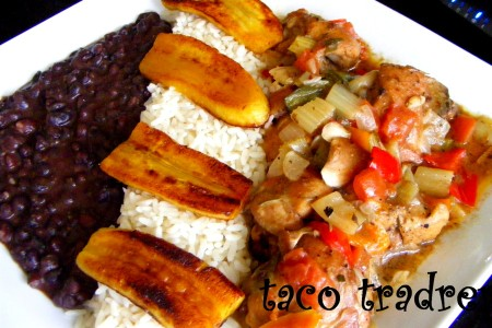 Cuban Black Beans With White Rice, Fried Plantain & Deep Sauced Chicken