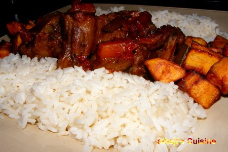 Rustic Deep Stewed OXtails With Cal-Parboiled Rice And Fried Plantain