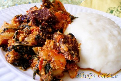 Egusi stew with pounded yam