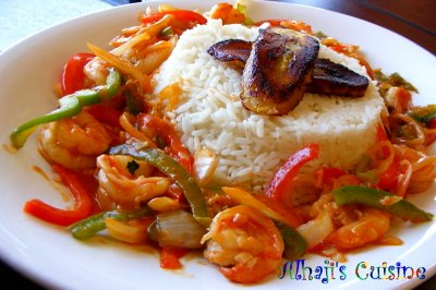 Shrimp serano with rice & fried plantain
