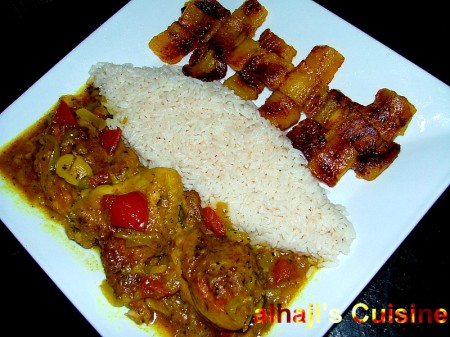 Roasted Curry Chicken With Coconut Rice & Fried Plantain Nuggets