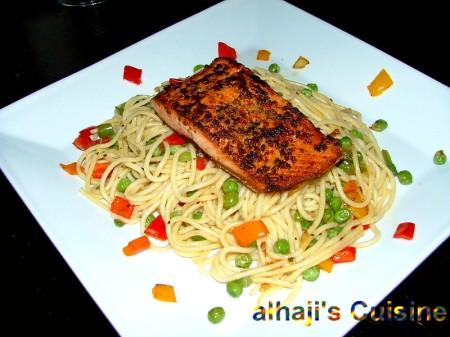 Fiesta Spaghetti With Tri-Pepper Crust Grilled Salmon